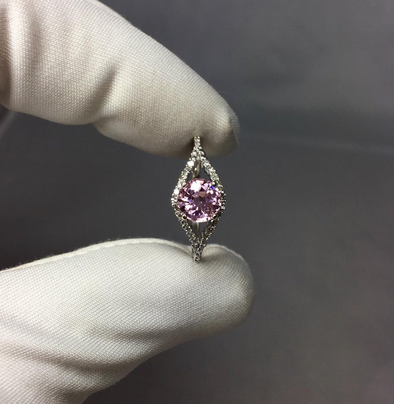 Women's or Men's Pink Tourmaline and Diamond 1.0 Carat White Gold Designer Fashion Ring For Sale