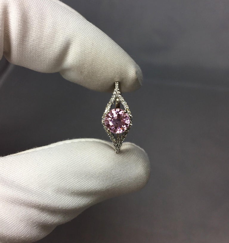 Pink Tourmaline and Diamond 1.0 Carat White Gold Designer Fashion Ring For Sale 3
