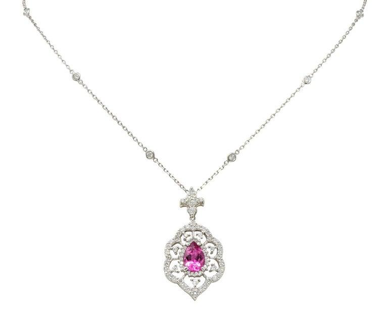 Pink Tourmaline Diamond 18 Karat White Gold Cluster Pendant Necklace For Sale 4