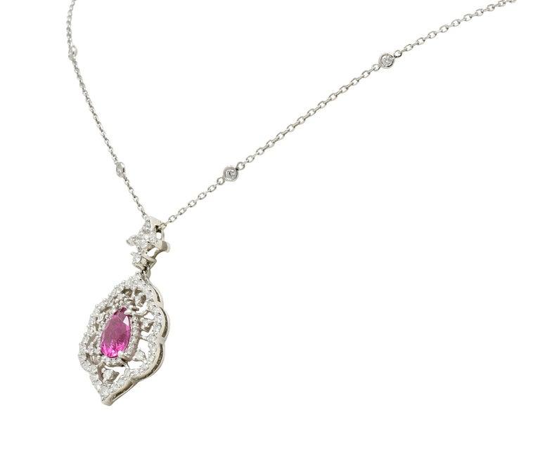 Contemporary Pink Tourmaline Diamond 18 Karat White Gold Cluster Pendant Necklace For Sale