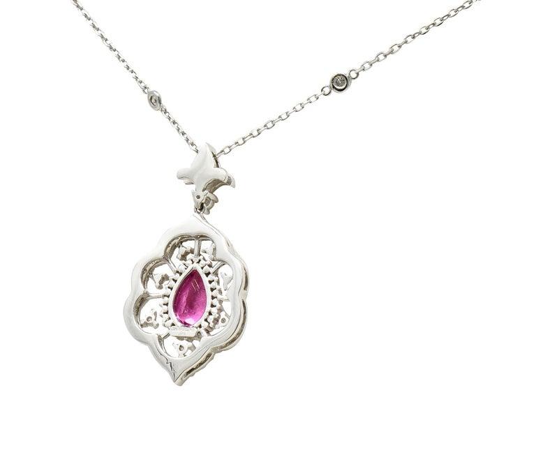 Brilliant Cut Pink Tourmaline Diamond 18 Karat White Gold Cluster Pendant Necklace For Sale