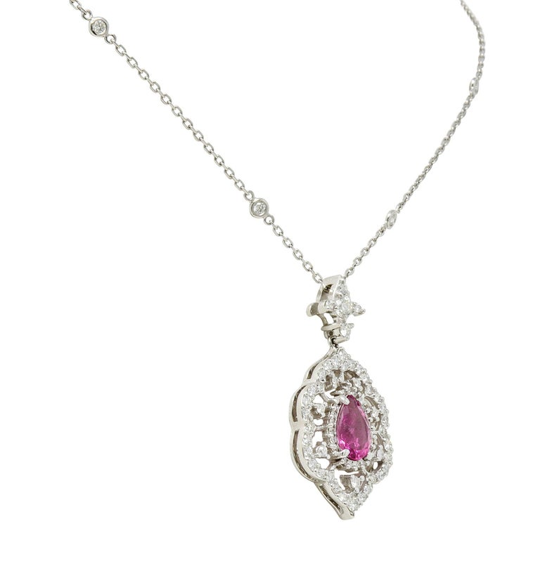 Pink Tourmaline Diamond 18 Karat White Gold Cluster Pendant Necklace In Excellent Condition For Sale In Philadelphia, PA
