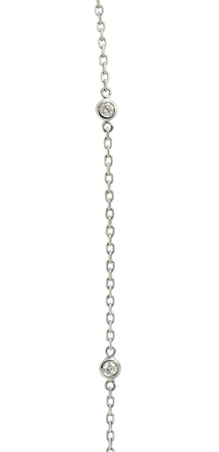 Pink Tourmaline Diamond 18 Karat White Gold Cluster Pendant Necklace For Sale 1