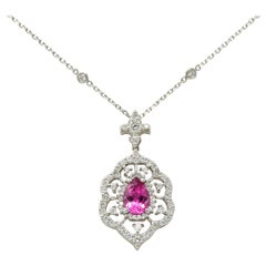 Pink Tourmaline Diamond 18 Karat White Gold Cluster Pendant Necklace