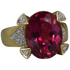 Pink Tourmaline Diamond 18 Carat Gold Cluster Ring