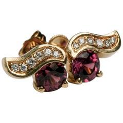 Pink Tourmaline and Diamond Earrings Set in 14 Karat Yellow Gold