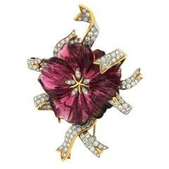 Pink Tourmaline Diamond Gold Flower and Ribbon Brooch