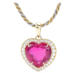 Pink Tourmaline Diamond Gold Pendant Necklace