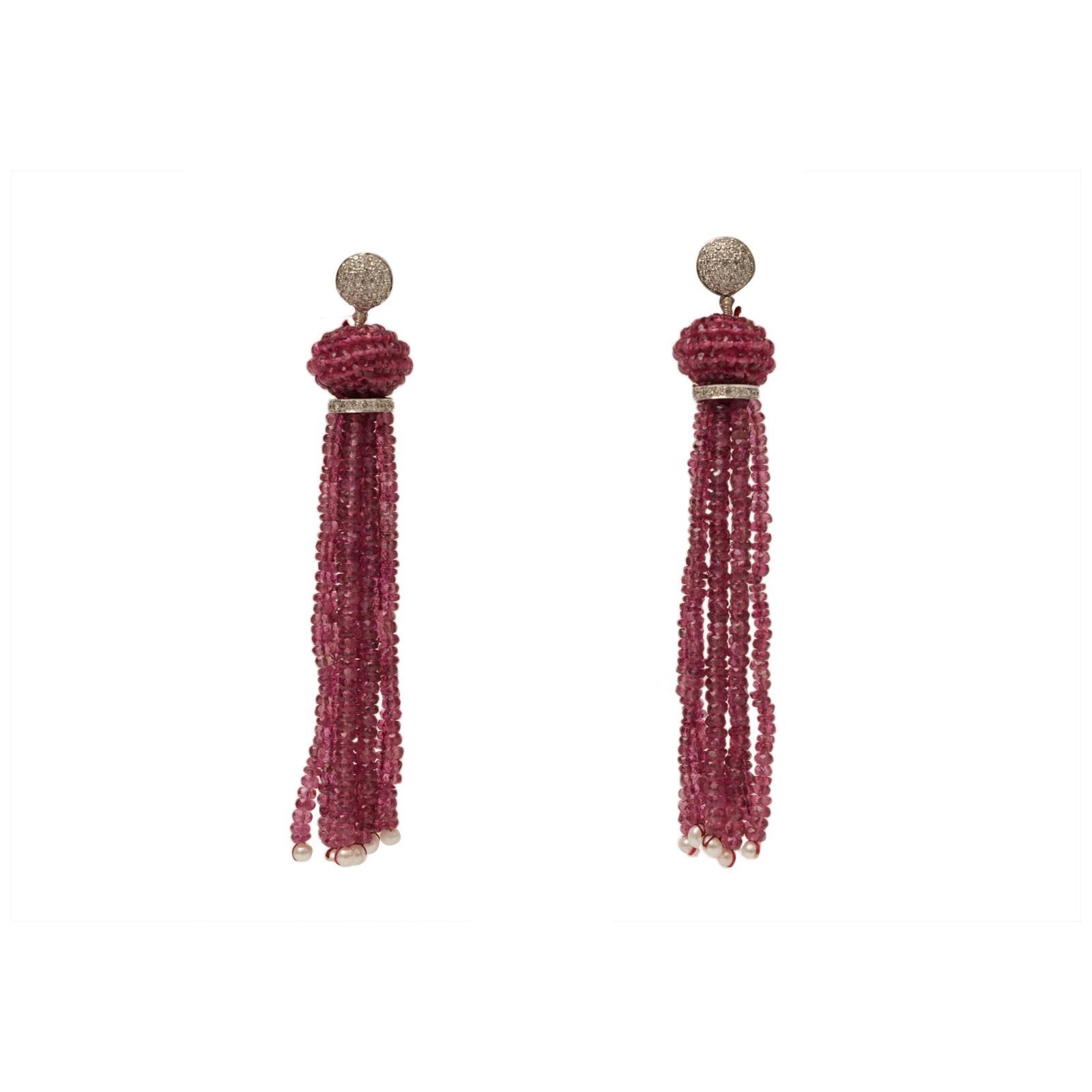Pink Tourmaline Diamond Gold Tassel Earrings