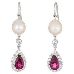 Pink Tourmaline Diamond Pearl Drop Earrings Estate 18 Karat Gold Dangle Jewelry