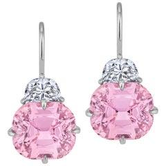 Pink Tourmaline Diamond Platinum Drop Earrings