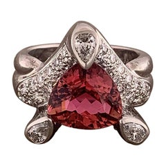 Pink Tourmaline Diamond Platinum Ring