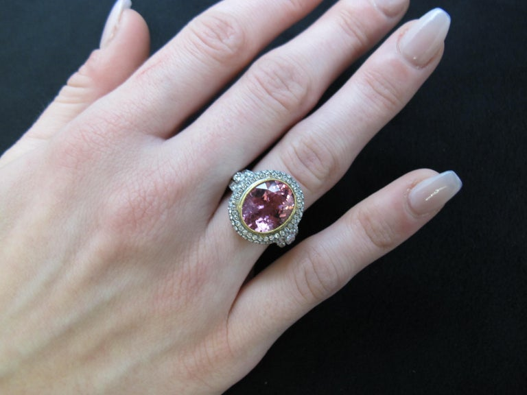 Artisan 4.39 ct. Pink Tourmaline Oval, Diamond Halo 18k White Gold Bezel Band Ring For Sale