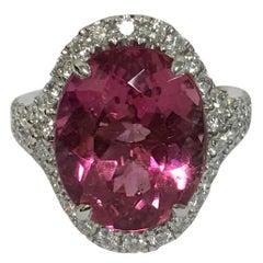 Pink Tourmaline Diamond Ring Set in 14 Karat White Gold
