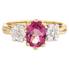 Pink Tourmaline Diamond Ring Vintage 14 Karat Yellow Gold Estate Fine Jewelry