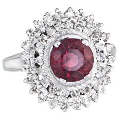 Pink Tourmaline Diamond Ring Vintage Cocktail 18 karat Gold Princess Jewelry