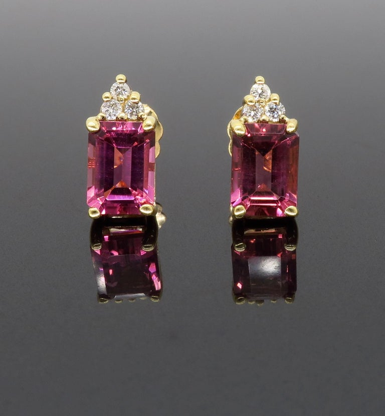 Pink Tourmaline and Diamond Stud Earrings In New Condition For Sale In Webster, NY