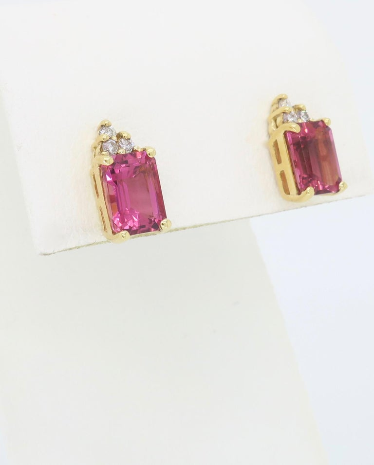 Pink Tourmaline and Diamond Stud Earrings For Sale 1