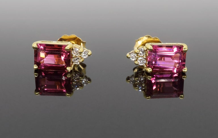 Pink Tourmaline and Diamond Stud Earrings For Sale 2