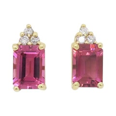 Pink Tourmaline and Diamond Stud Earrings