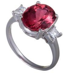 Pink Tourmaline Diamond Three-Stone Platinum Ring