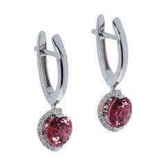 Pink Tourmaline Diamonds 18 Karat White Gold Moon Earrings