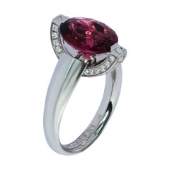 Pink Tourmaline Diamonds 18 Karat White Gold Moon Ring