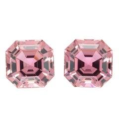 Pink Tourmaline Earring Gemstones 11.01 Carat Square Octagon Loose Unset Gems
