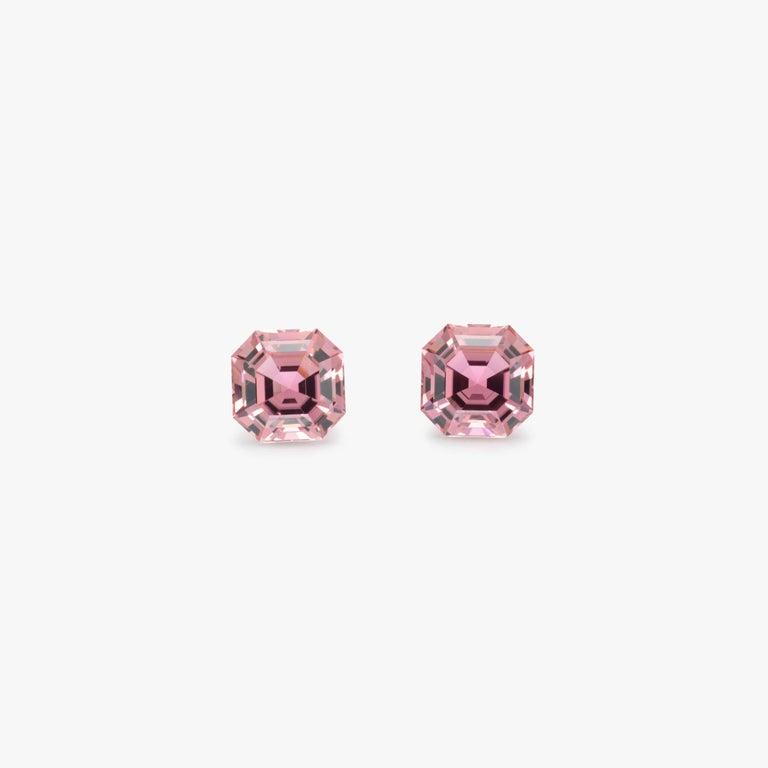Art Deco Pink Tourmaline Earring Gemstones 11.01 Carat Square Octagon Loose Gems For Sale