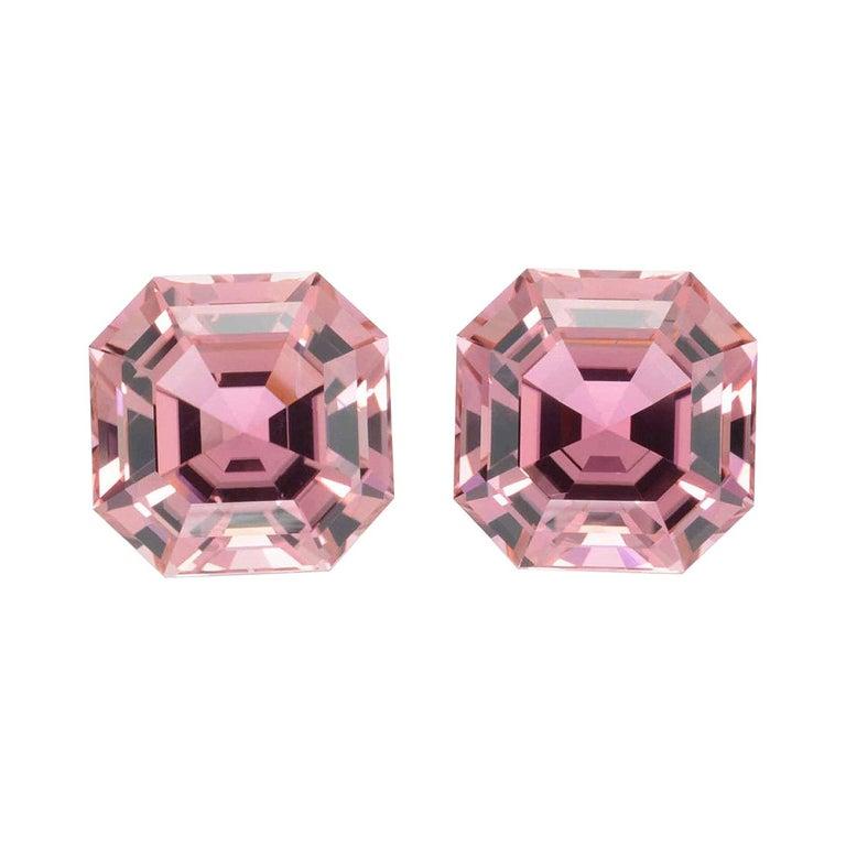 Pink Tourmaline Earring Gemstones 11.01 Carat Square Octagon Loose Gems For Sale