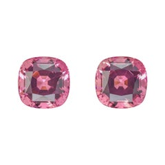 Pink Tourmaline Earrings Gemstone Pair 20.57 Carats Cushion Loose Gems