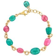 Pink Tourmaline Emerald Tumble 18 Karat Yellow Gold Bracelet