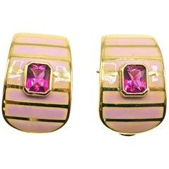 Pink Tourmaline Enamel and 18 Karat Gold Earrings