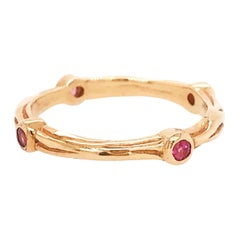 Pink Tourmaline Genuine Gemstone Custom Band 14 Karat Yellow Gold Nature Design