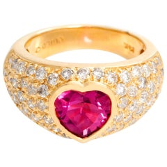Pink Tourmaline Heart Diamond Ring