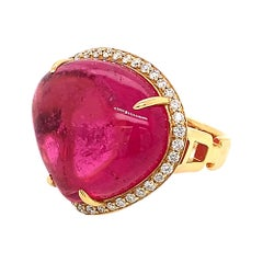 Pink Tourmaline Heart Ring with Diamonds