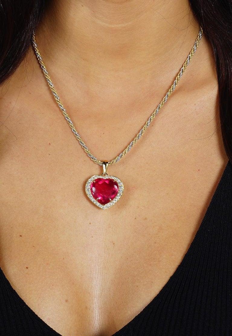 Pink Tourmaline Heart Shape On Diamond And Gold Pendant