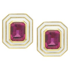 Pink Tourmaline in White Enamel Museum Series Earrings by Andrew Glassford