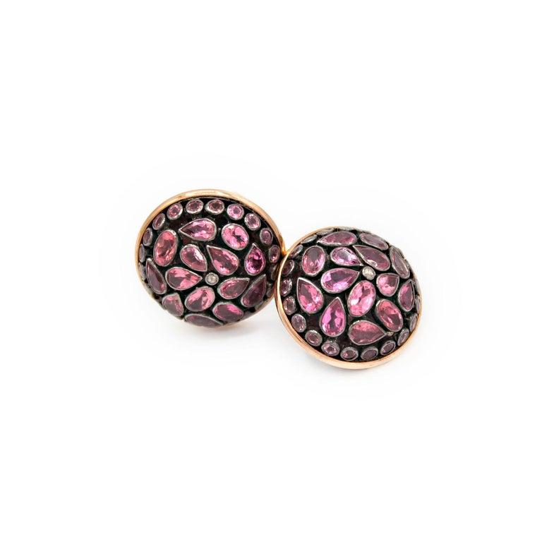 Elegant earrings in 18kt pink gold and pink tourmaline Junaghar cabochon.  Silver setting Pink tourmaline ct. 13,34 Pink Gold g. 4,3 Clip-on System