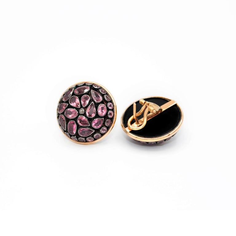 Artisan Pink Tourmaline Junaghar Pave 18 Karat Pink Gold Earrings For Sale