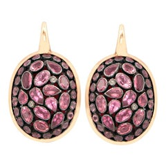 Pink Tourmaline Junaghar pave 18 Karat Pink Gold Earrings