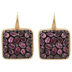 Pink Tourmaline Junaghar Pave 18 Karat Pink Gold Earrings