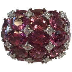 Pink Tourmaline Oval and White Diamond Round Cocktail Ring in 18 Karat Gold