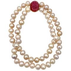 Pink Tourmaline Pink Pearl Double Necklace 14 Karat Duchess of Windsor Mrs Metz