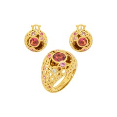 Pink Tourmaline Pink Sapphires Diamonds 18 Karat Yellow Gold Bubble Suite