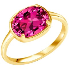 Pink Tourmaline Raised Dome Yellow Gold Cocktail Ring