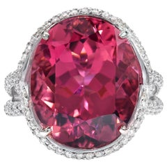 Pink Tourmaline Ring White Gold Diamond Cocktail Rubellite Ring