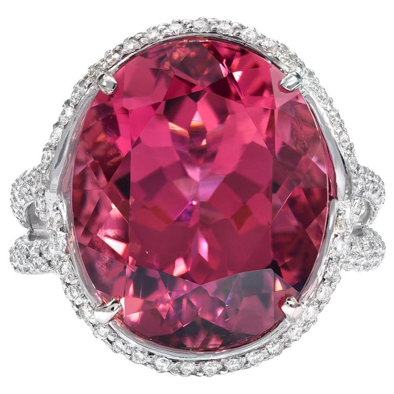 Rubellite Tourmaline Ring Oval 11.69 Carats For Sale