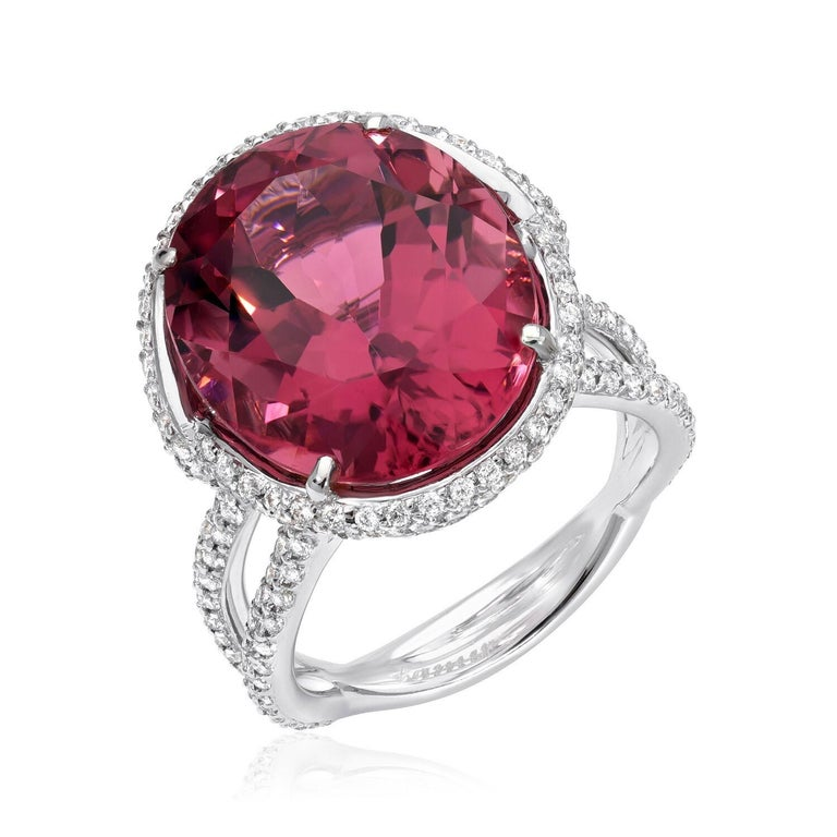 Modern Rubellite Tourmaline Ring Oval 11.69 Carats For Sale