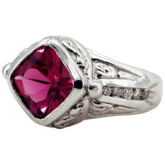 Pink Tourmaline Ring with Diamonds Exemplifies the Best of 1980s Design